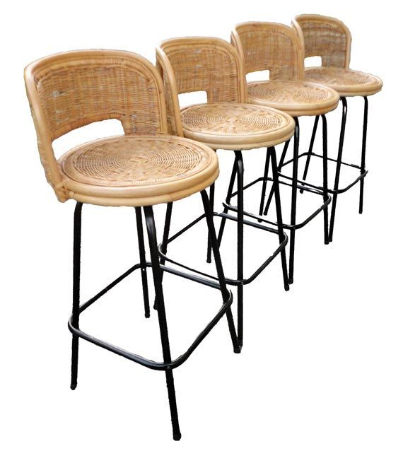 Vintage Mid Century Bar Stools   Eames Rattan Swivel Bamboo Barstools