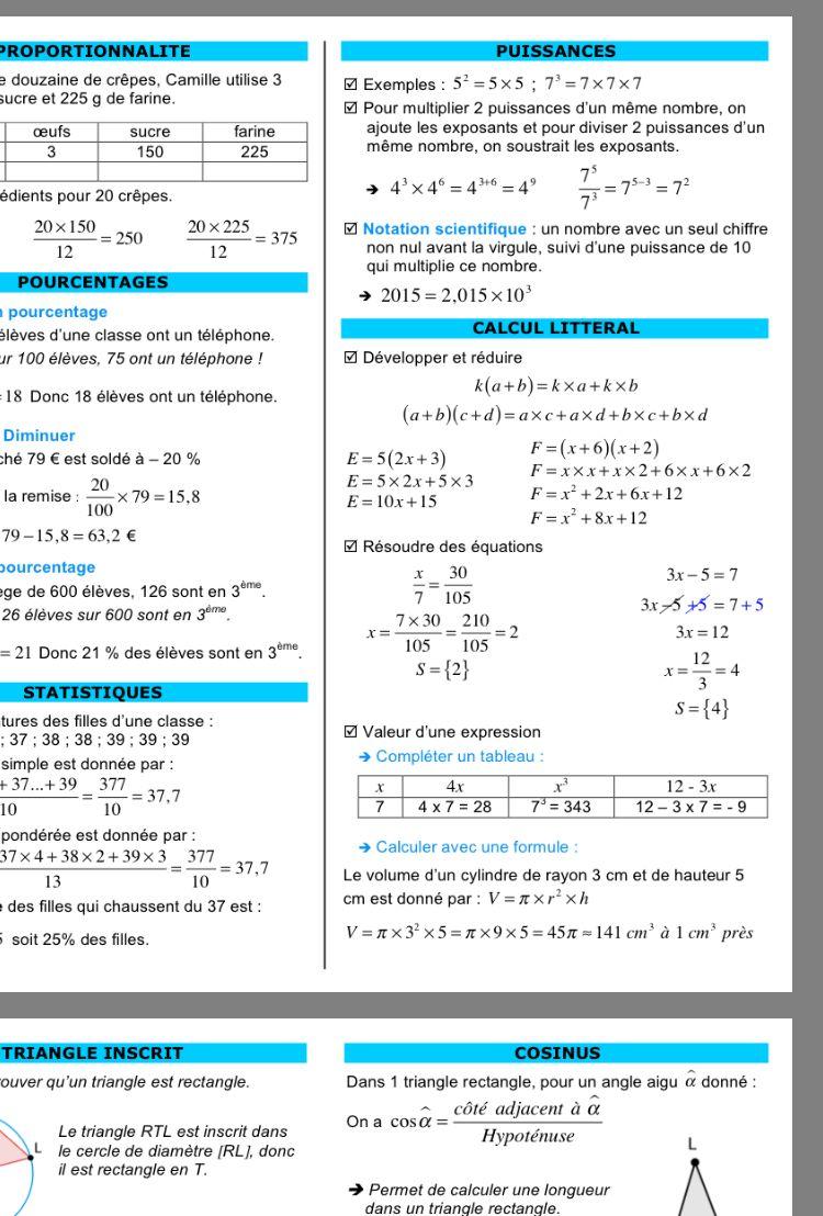 Epingle Par Leyna Sur Education Reussite Lecon De Maths Maths 3eme Cours De Maths