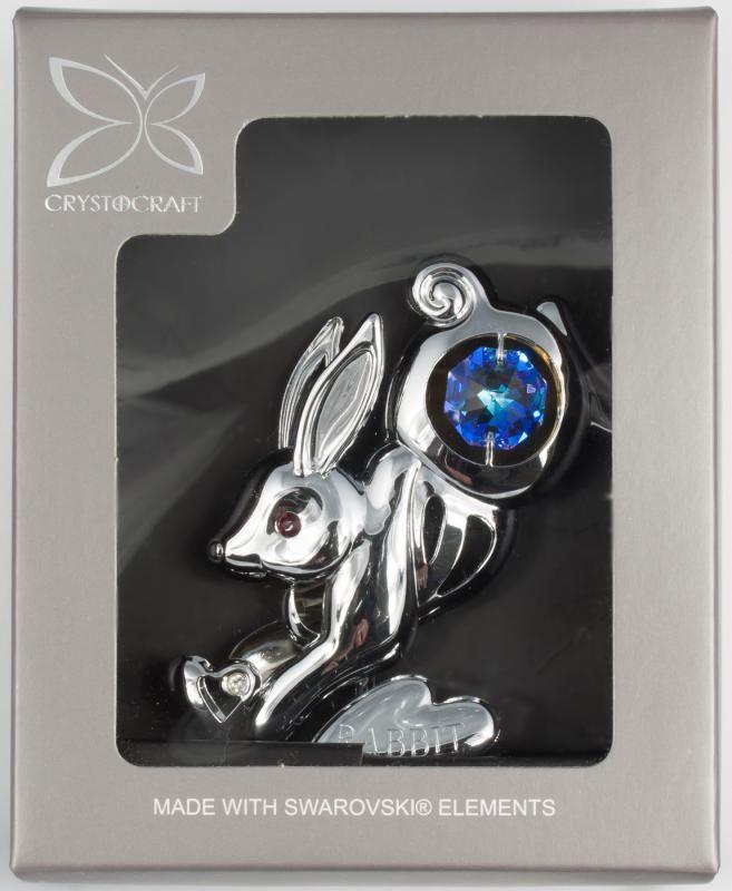 Hase Rabbit Jahr des Hasen Figur silberfarben MADE WITH SWAROVSKI ELEMENTS - premium-kristall