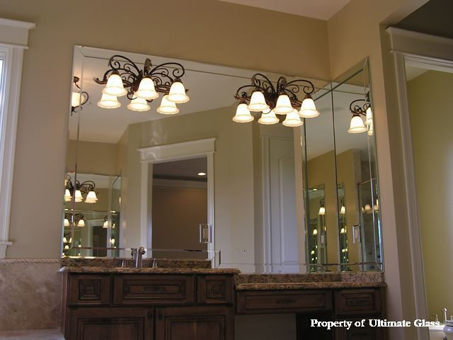Vanity Lights Overlay Mirror : Beveled Glass Mirror for Bathroom ... base mirror and side return mirror with 3