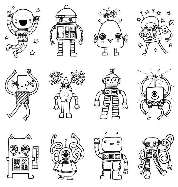 Robot Coloring Book 8 Robots Drawing Robot Art Kids Art Projects