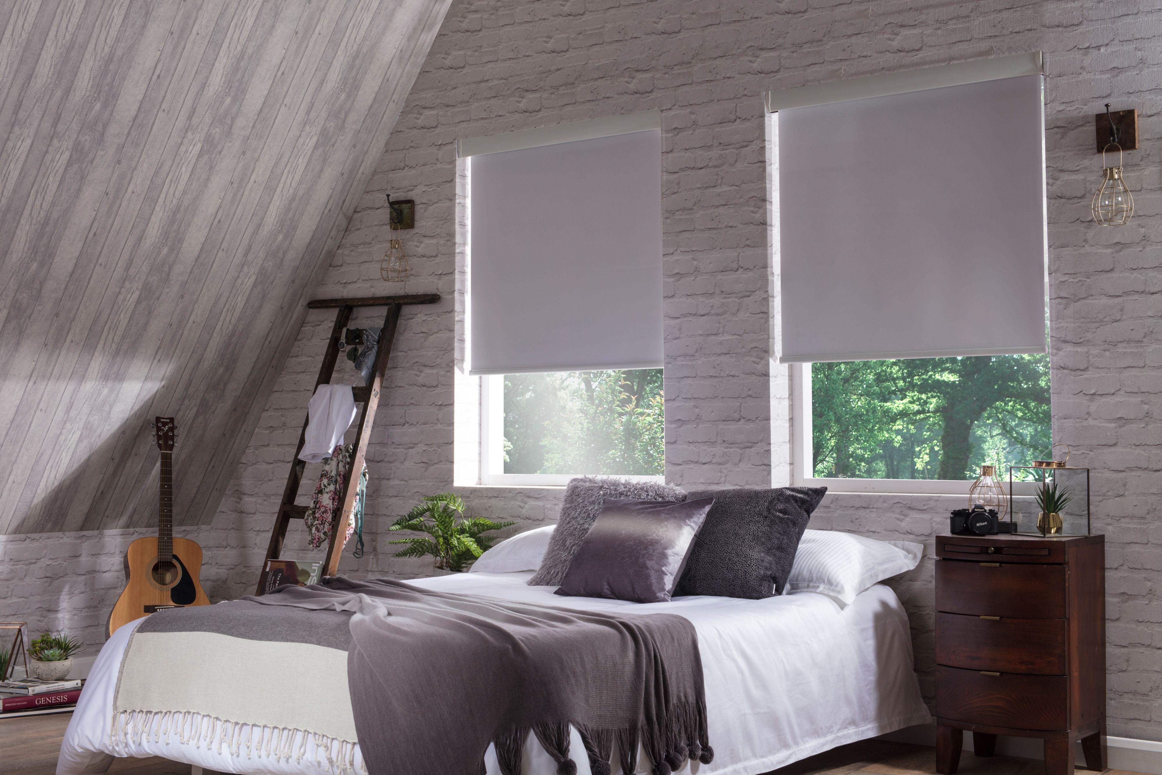 Banlight white bedroom roller blinds from Style Studio. Loft bedroom ...