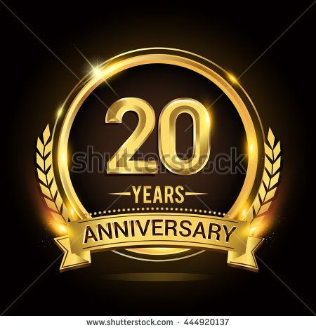 Celebrating years anniversary logo with golden ring and ribbon laurel wreath vector design stock also rh pinterest
