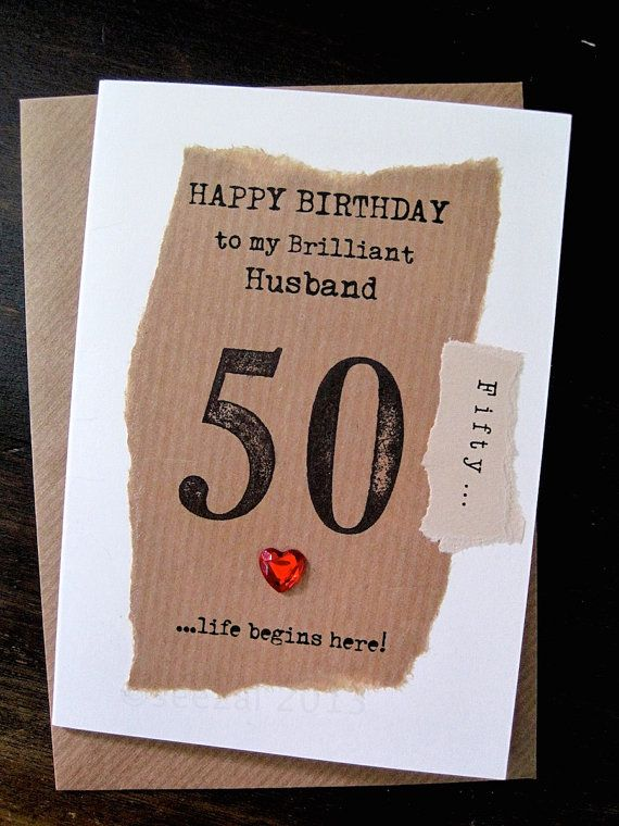 Husband 40th 50th Birthday Card Hand Stamped 50 Simple Unusual Masculine Design Upcycled Size A6 50th Birthday Cards Birthday Cards 50th Birthday