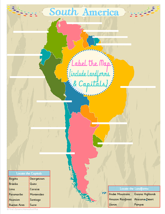 South America Unit Study - Colorful Free Printable Map | geography on america state map, usa map, texas map, greece's map, europe map, latin america map, kenya's map, portugal's map, brazil's map, indonesia's map, south america map, central america map, canada map, world map, mexico map, africa map, jamaica's map, asia map, c america map, north america map,