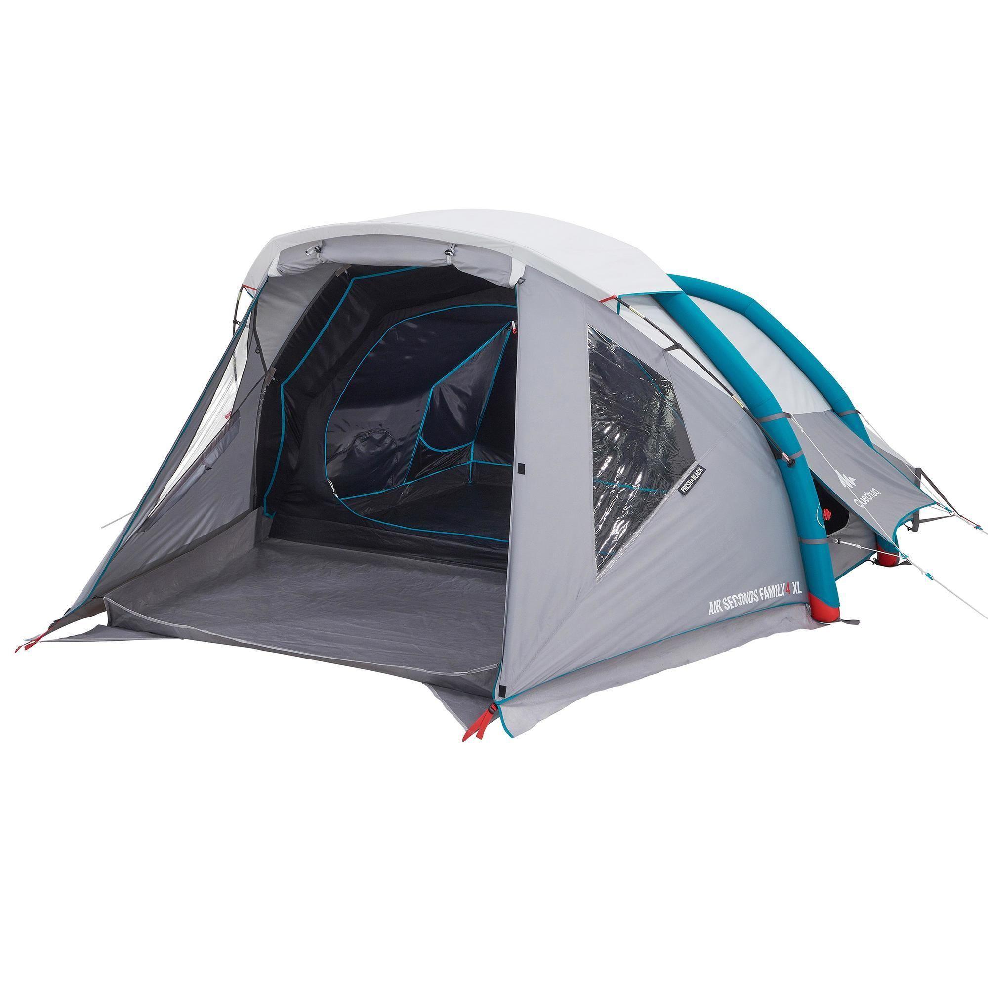 Tente De Camping Gonflable Air Seconds 4 Fresh Black 4 Personnes 1 Chambre Camping Tente Camping En Tente Tente Familiale