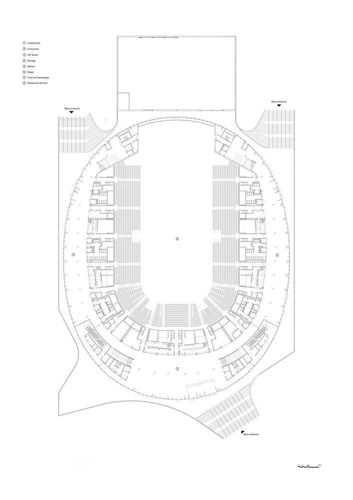 Gallery Of Royal Arena 3xn Hks 35 Church Interior Design Ground Floor Plan Interior Architecture Design