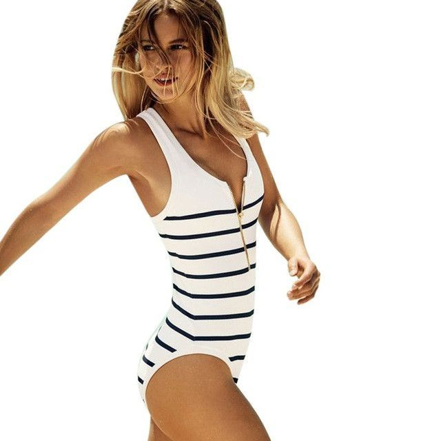 Striped Nautical Zippered One Piece
