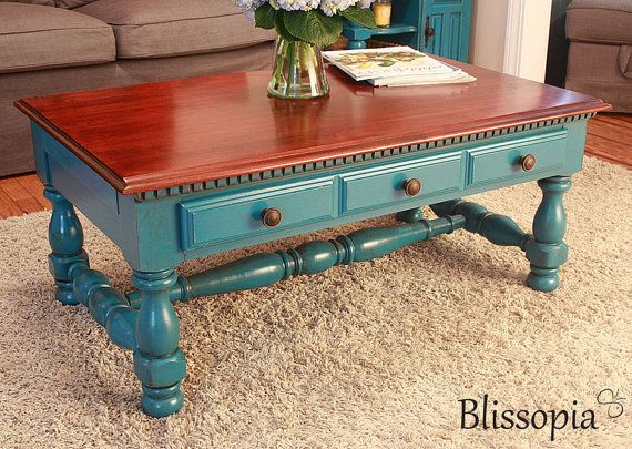 Vintage Two Tone Chunky Coffee Table Painted Stained