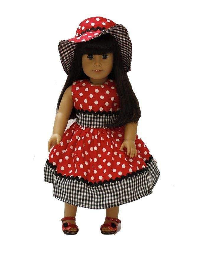 Red White Polka Dots Doll Dress And Hat Fits All 18 Inch Dolls Like American Girl 8109 #18inchdollsandclothes