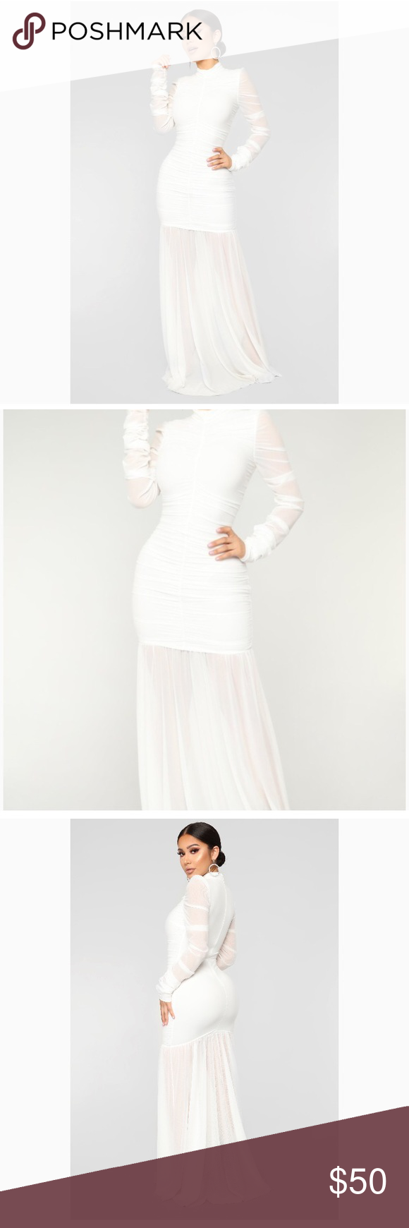 34f6669f95738 Cardi Party Ruched White Dress Condition: NWT Brand: Fashion Nova Size: XS  As seen on Cardi B on SNL!🎊 Fashion Nova Dresses Maxi