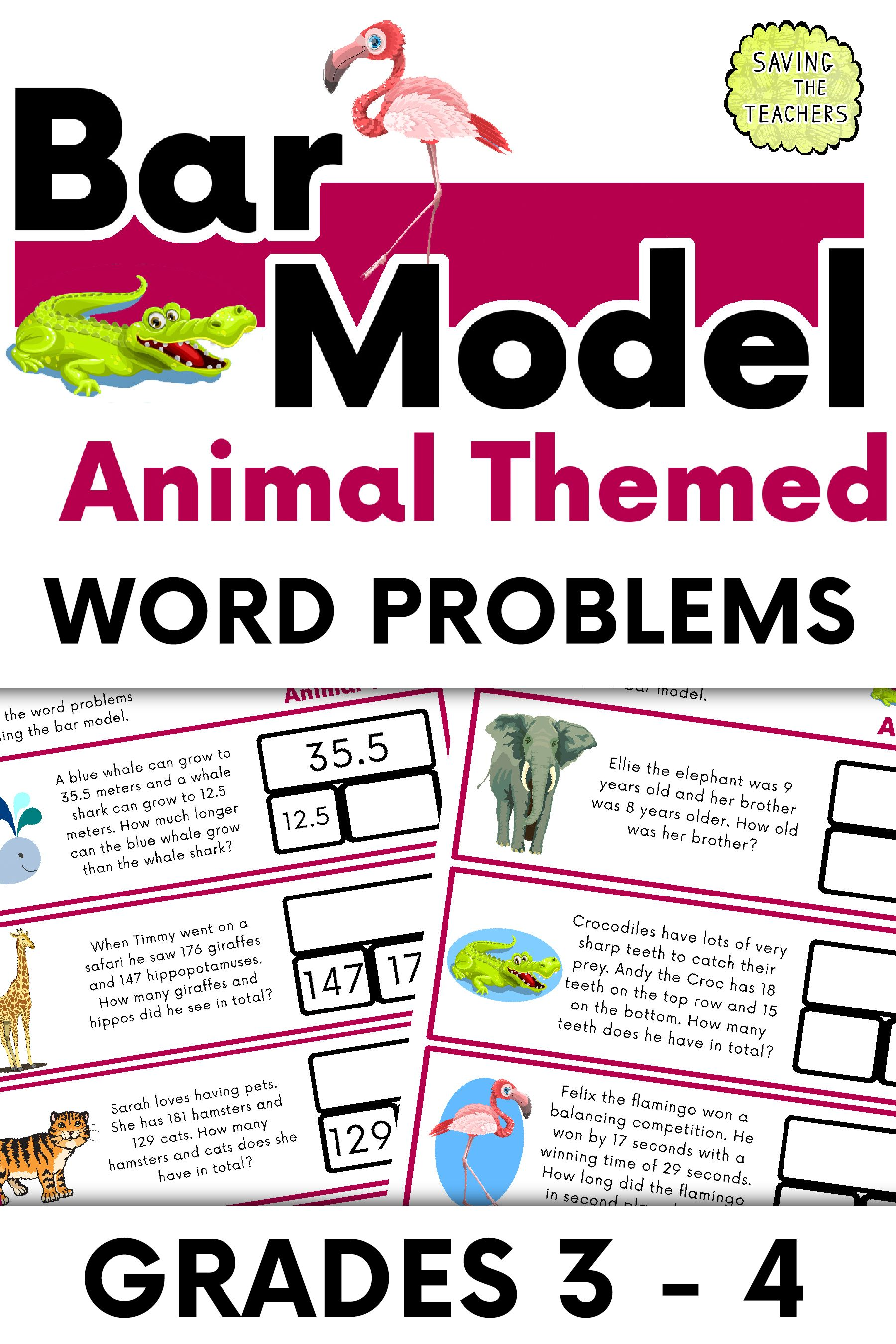 Animal Addition And Subtraction Bar Model Word Problems
