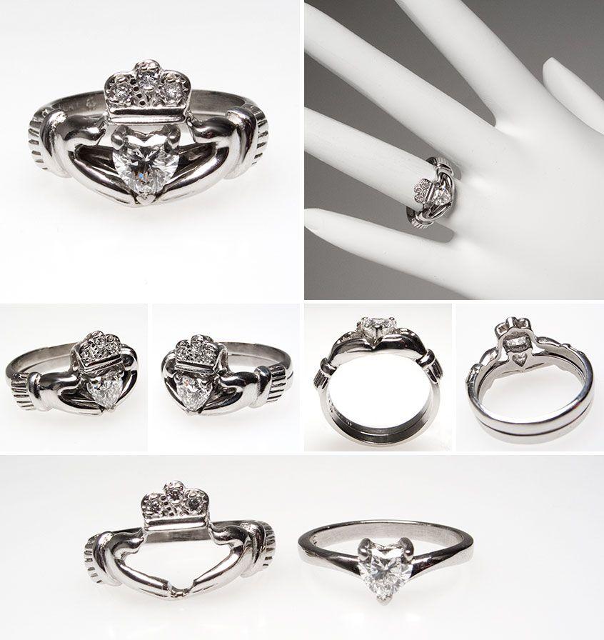 Irish Claddagh Heart Diamond Engagement Ring Wedding Set Platinum Irish Wedding Rings Heart Diamond Engagement Ring Claddagh Ring Wedding