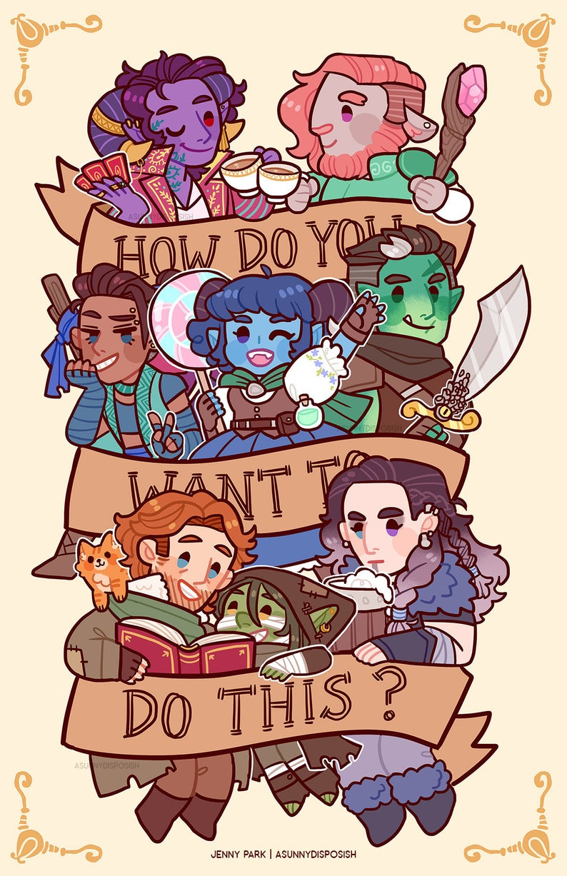 Critical Role 11 X 17 Print Critical Role Characters Critical Role Fan Art Critical Role Campaign 2