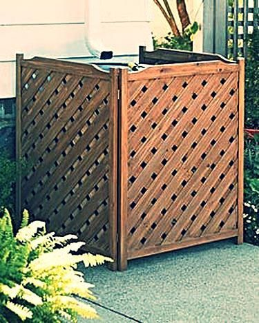 fence To Hide Air Conditioner Unit | Ac Unit Hidden With Teak Temporary  Fence