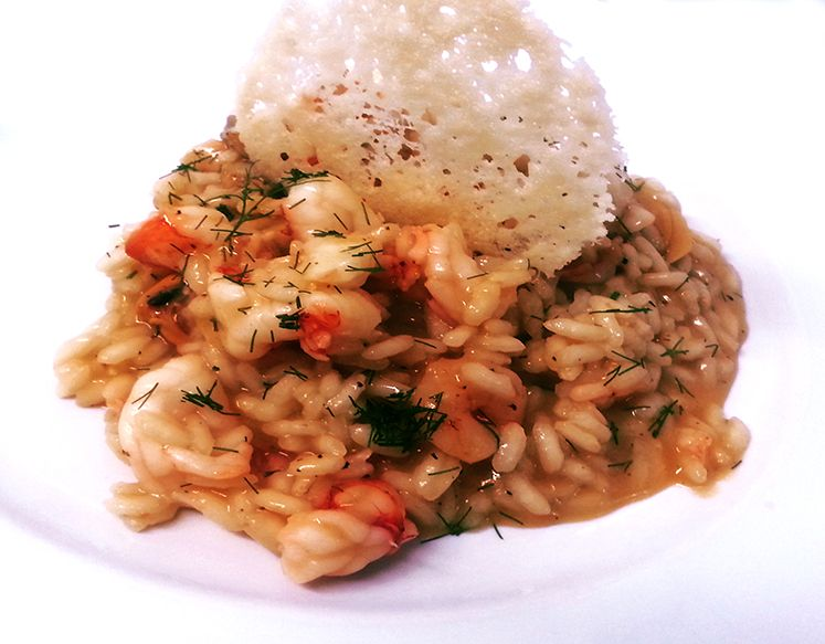 Risotto with seafood, Red shrimp from Sicily, bisque and wild fennel-  Hotel Rada Siri, Montepaone Lido, Calabria- Italy