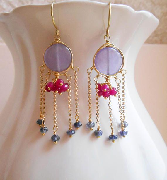 Joeline gemstone chandelier tassel fringe earrings purple violet magenta fuchsia pink cluster jade iolite gold fill Valentine gift for her