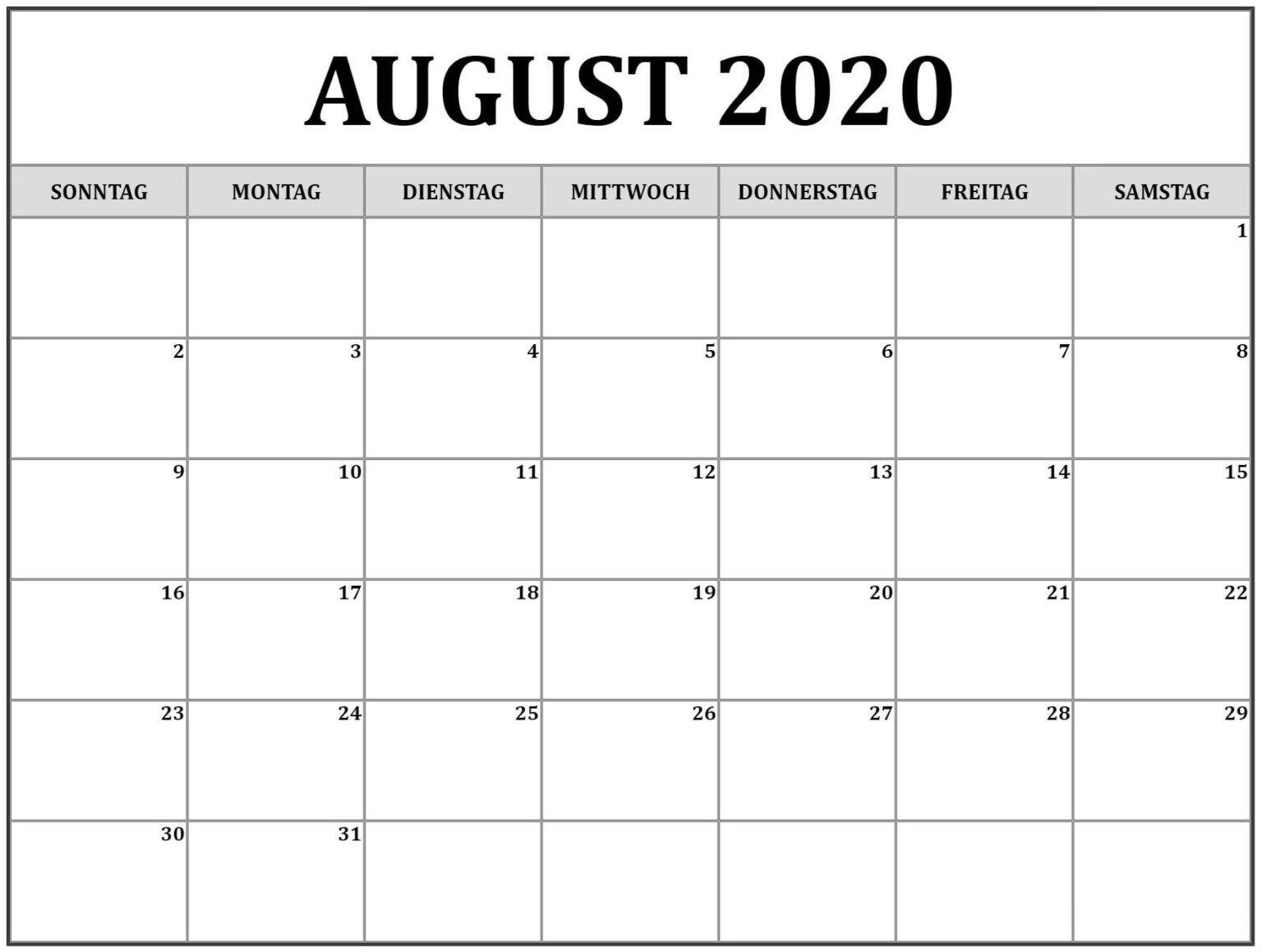 Kalender August 2020 Word Vorlagen Pdf Nosuvia Com In 2020 August Printable Calendar Calendar