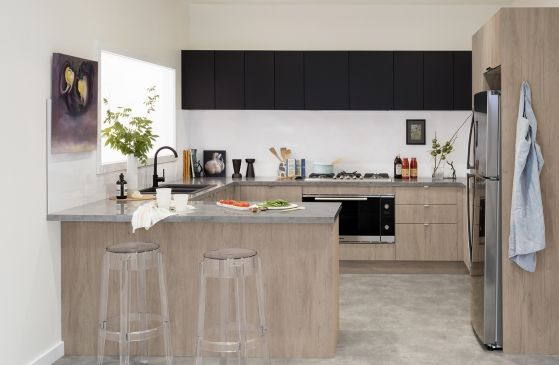 urban oasis maplenut and blackberry doors in modern profile with enoki benchtops and sago on kaboodle kitchen enoki id=61805