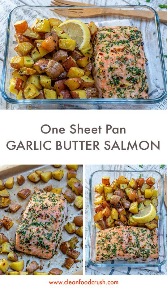 One Sheet-Pan Garlic Butter Salmon + Red Potatoes images