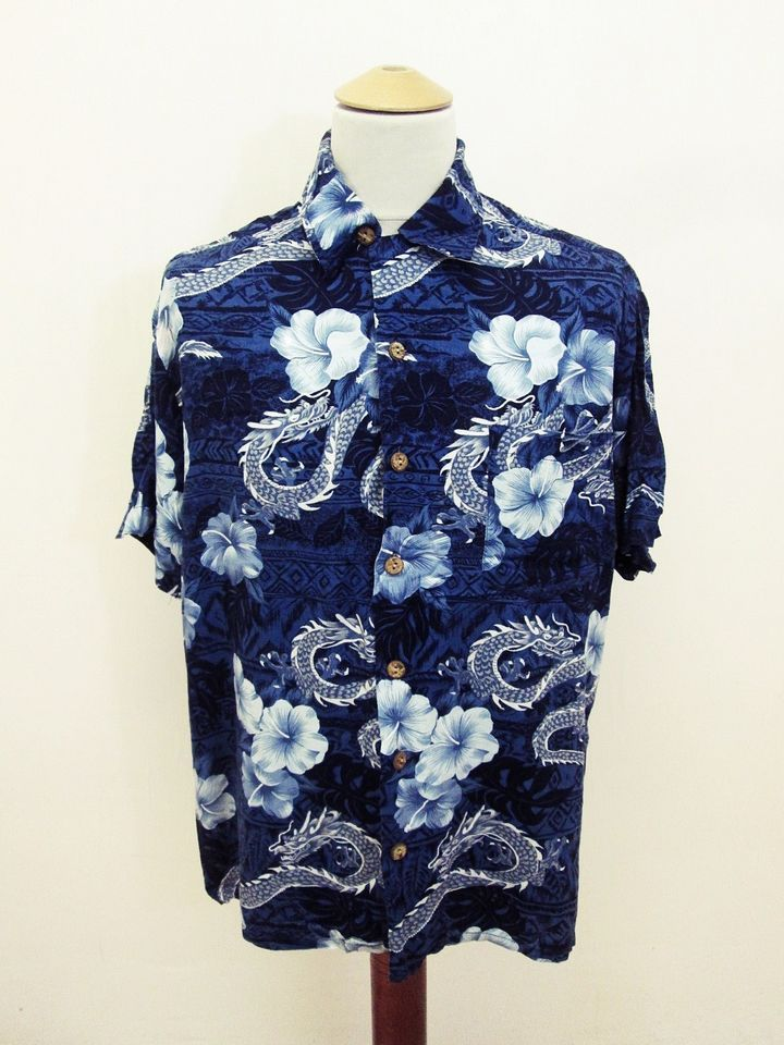 Retro 90s Hawaiian Dragon Hibiscus Flower Pattern Indie Shirt L