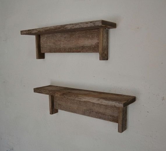 Reclaimed Gray Wood Shelves I Would Want To Build This Because I Have A Shelf In My Bathroom But It Isn T Sturdy Or Mad Wood Shelves Rustic Furniture Diy Wood