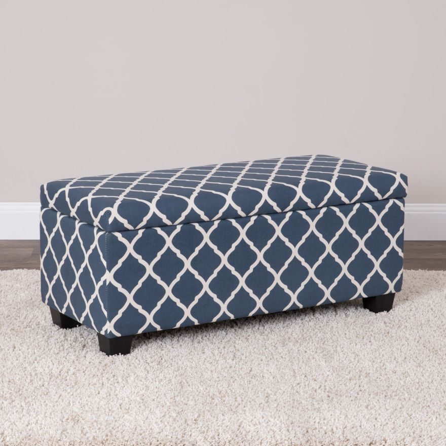 Trellis Storage Ottoman Large Printed 100 Polyester Fabric Black