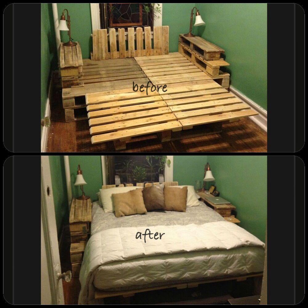 DIY Wood Pallet Bed Frame Cozy Bedroom Pinterest