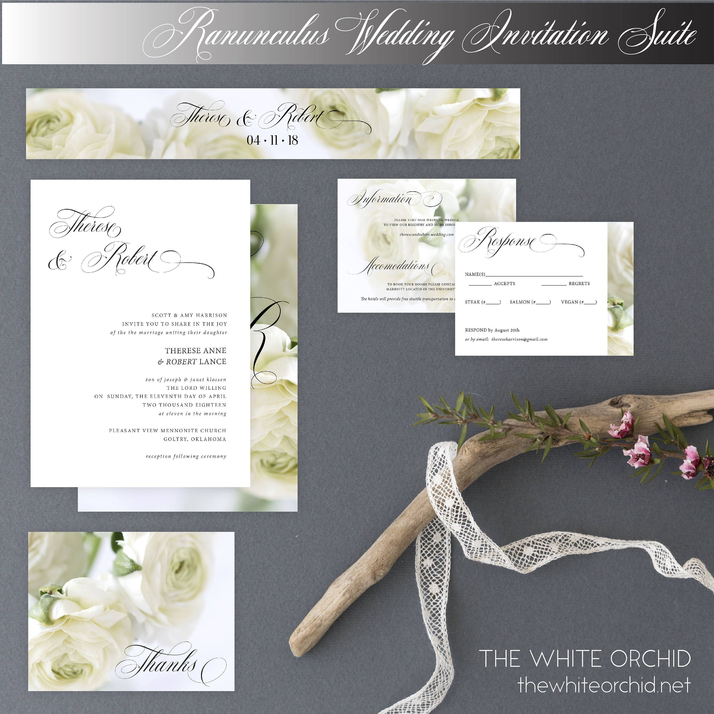 White Roses wedding invites #etsy shop: Printable wedding invitation ...