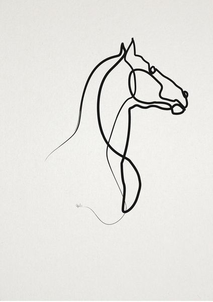 Horse Line Drawing Tattoo : Oneline horse art print metal pinterest