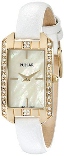 Women's Wrist Watches - Pulsar Womens PRW010 GoldTone Swarovski Crystal Watch With Leather Band ** You can get more details by clicking on the image.