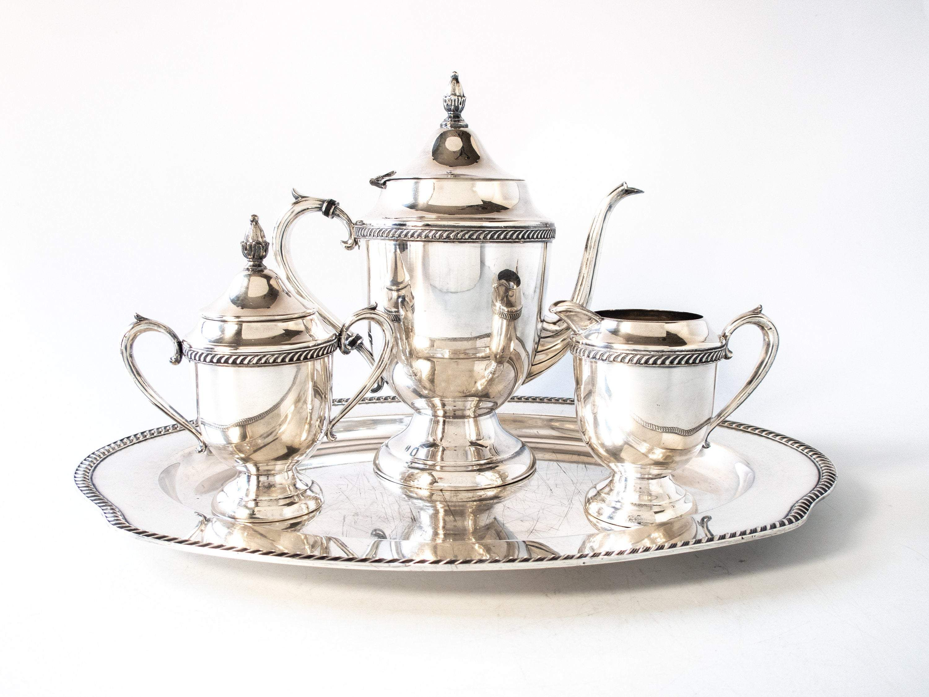 Antique Silverplate Tea Set With Tray Art Deco Silver Plated Tea Set Antique Tea Sets Tea Set