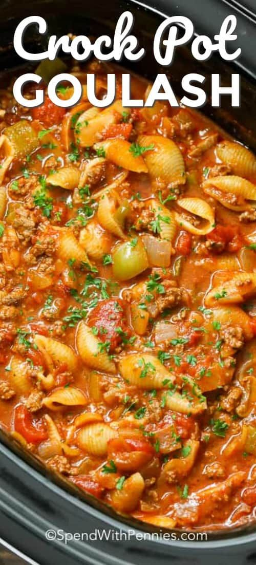 Crockpot Goulash is an easy to make slow cooker meal! Tender ground beef, bell peppers and onions are simmered in a zesty tomato sauce all day for the perfect meal. #spendwithpennies #crockpotrecipe #slowcooker #crockpot #groundbeefrecipe #easyrecipe #meatsaucerecipe #easymeatsauce #goulash #Americangoulash #Amercianchopsuey #hamburgerhelper #slowcookerrecipes