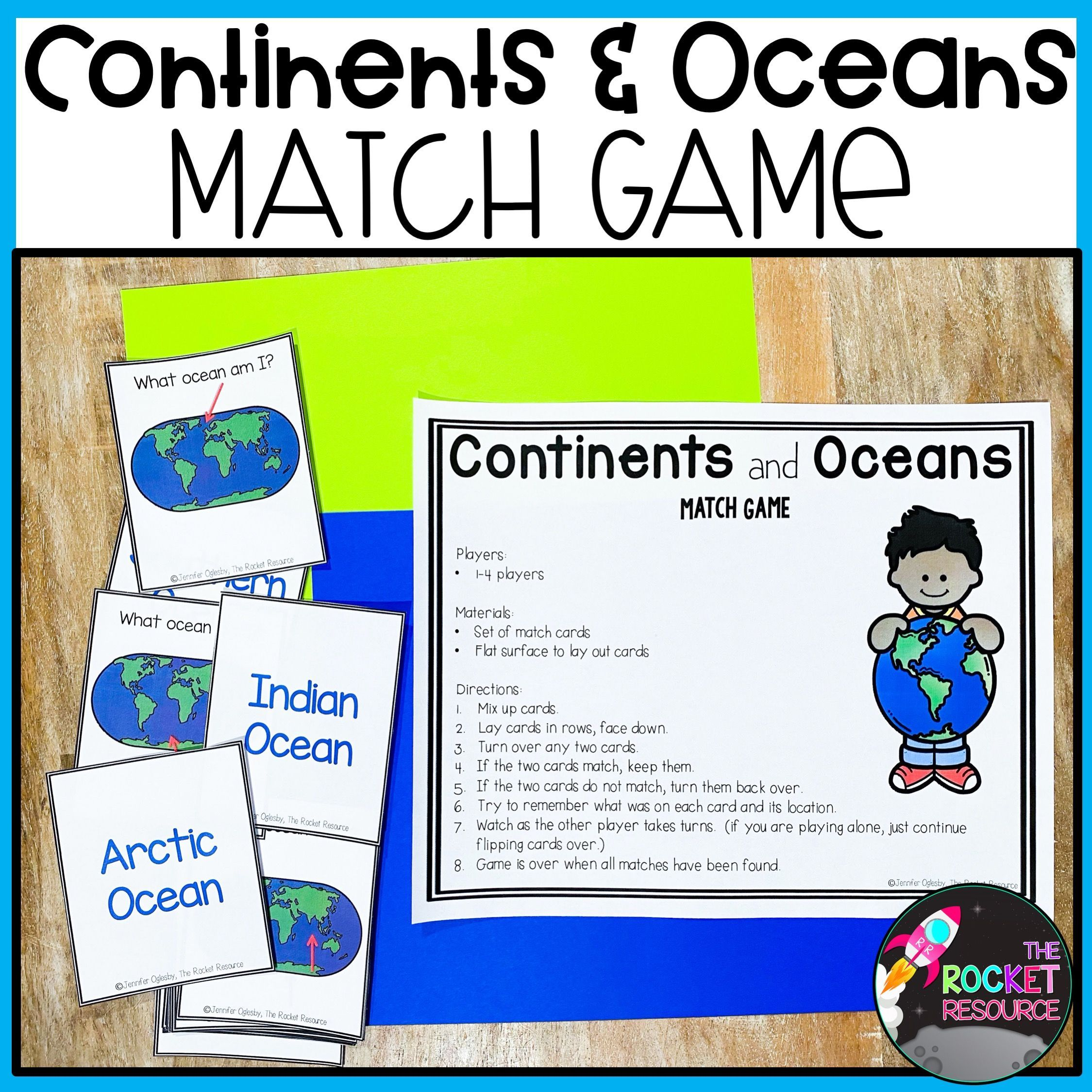 Continents and Oceans Match Game in 2020 Continents and