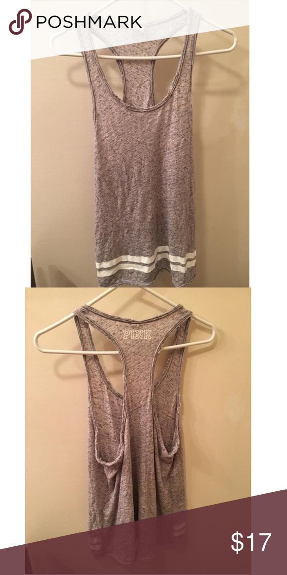 VS PINK Racerback Tee NWOT grey racerback tee. 🚫NO TRADES🚫 ✨All Offers Through The Offer Button Please✨ PINK Victoria's Secret Tops