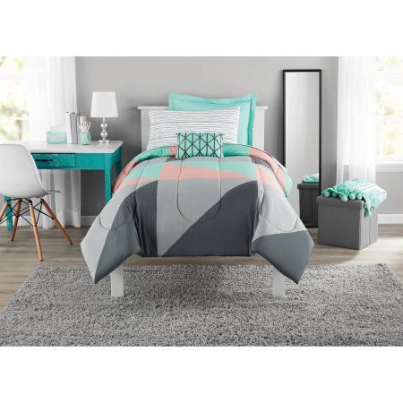 Mainstays Gray And Teal Bed In A Bag Comforter Set Blue Teal