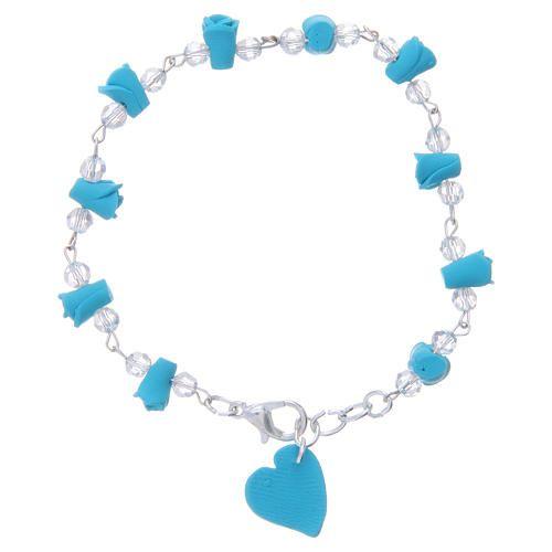 d0bdc6be891 Pulsera Medjugorje color turquesa rosas y corazón cerámica  pulsera   pulseras  bracelet  pulserareligiosa