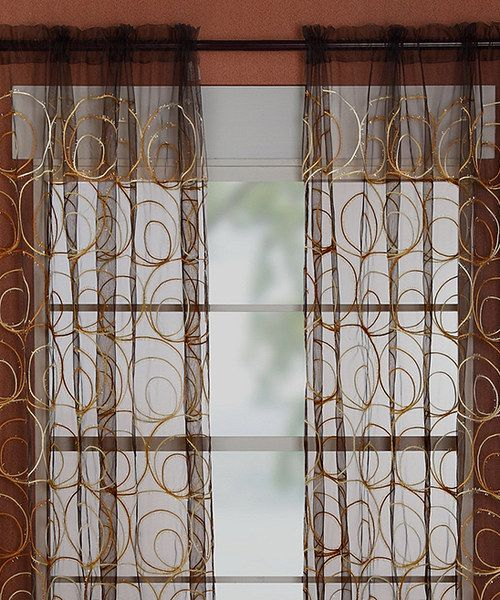 Take a look at the Gold & Brown Evelyn Curtain Panel - Set of Two on #zulily today!