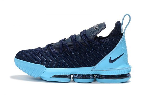 3f9182740463a 2018 Cheap Nike LeBron 16 Navy Blue Jade White Basketball Shoes Sale