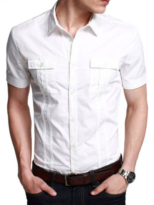 8f4bef02c22 Stylish White Half Sleeve Casual Shirt
