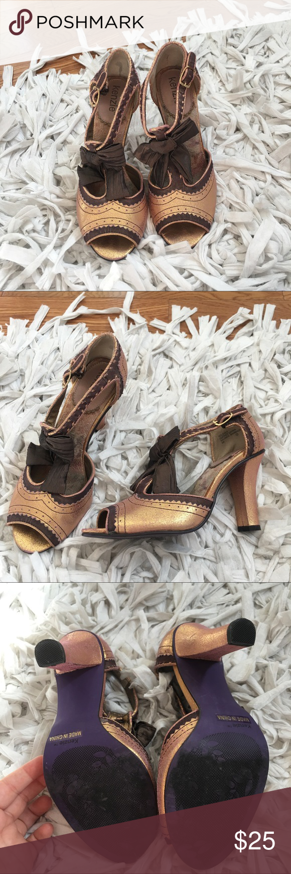 Kenzie 'Beloved' Rose Gold T-Strap Bow Heels Gently used Kenzie bow heels. Soles are in great shape and so is the rest of the shoe. Runs a half size small so this would fit a 5.5 or a narrow size 6. This shoe is not made for wider feet. Accepting all reasonable offers 💕 kenzie Shoes Heels
