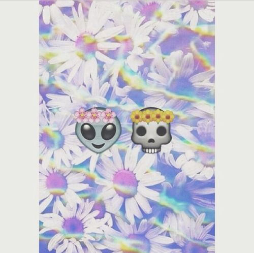 hipster, tumblr, emojis, alien emoji, flower emoji, skull