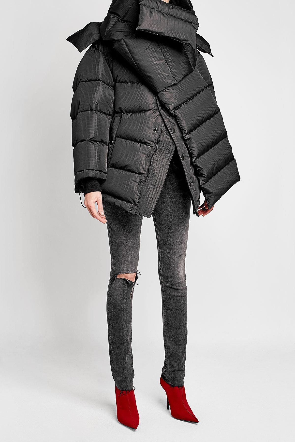 09288148b Lyst - Balenciaga Oversized Down Jacket With Hood in Black