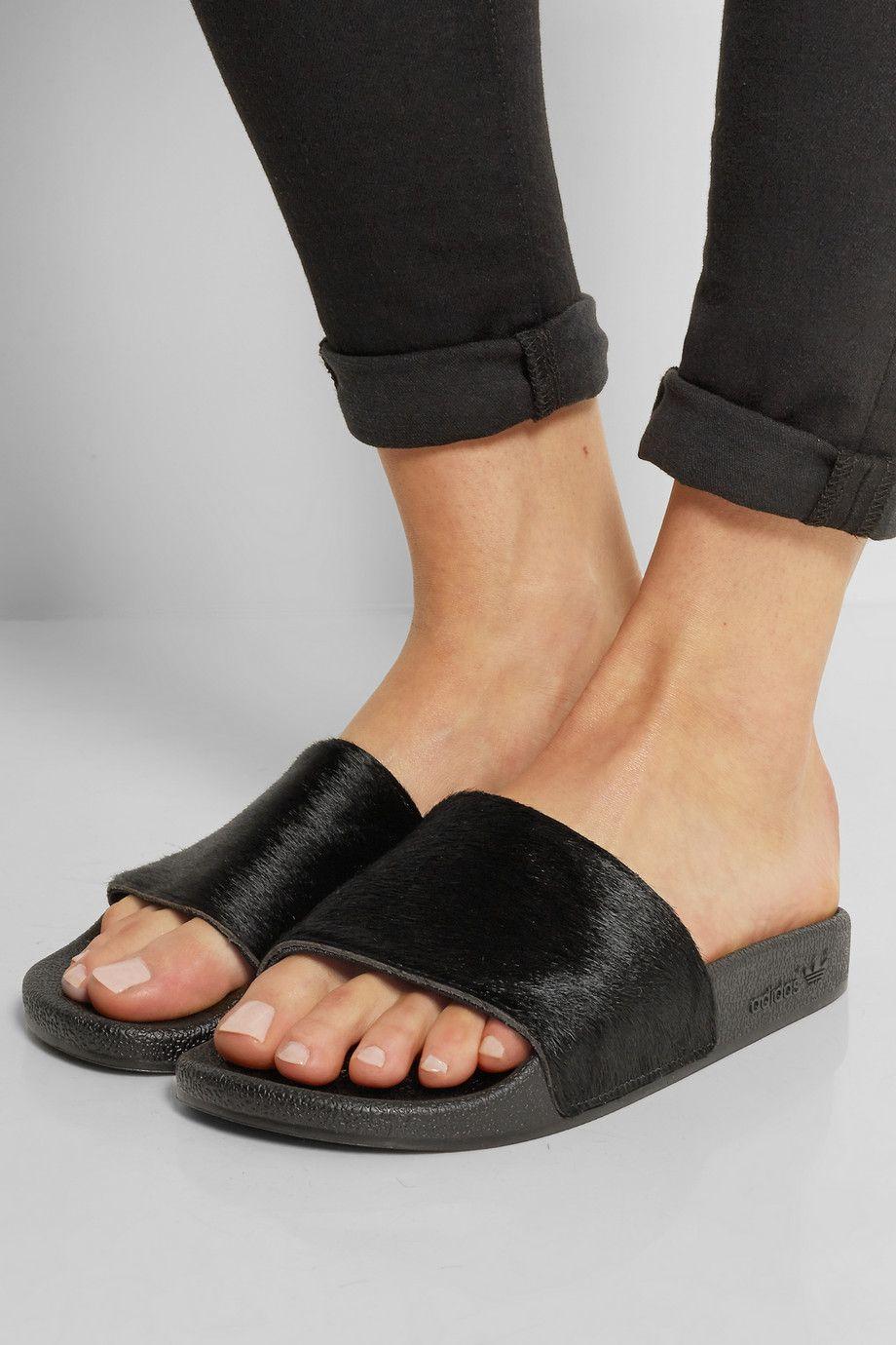 adidas Originals   Adilette calf hair and rubber slides