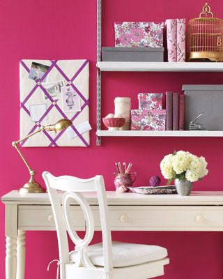 Seriously considering painting my guest/craft room this color.  Benjamin Moore's Peony.  Love it!