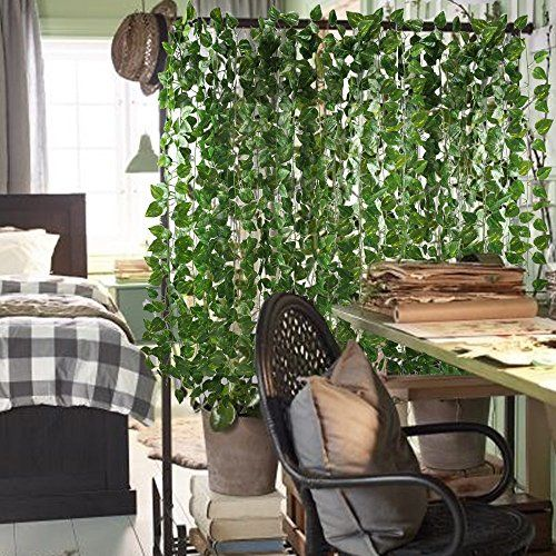 12 Pack Each 82 Inch Artificial Greenery Fake Hanging Vine Plants Leaf Garland Hanging For Wedding Fake Hanging Plants Hanging Plants Artificial Hanging Plants