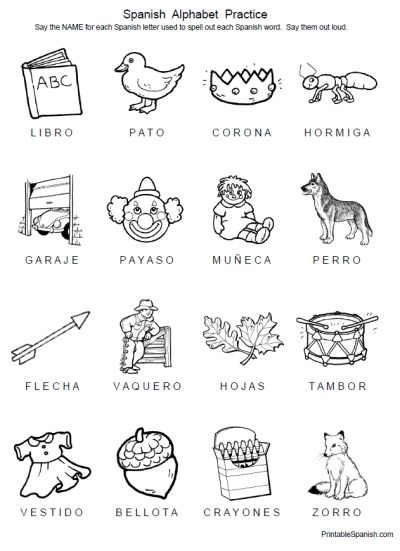 FREE 8 page printable packet Spanish Alphabet Practice from