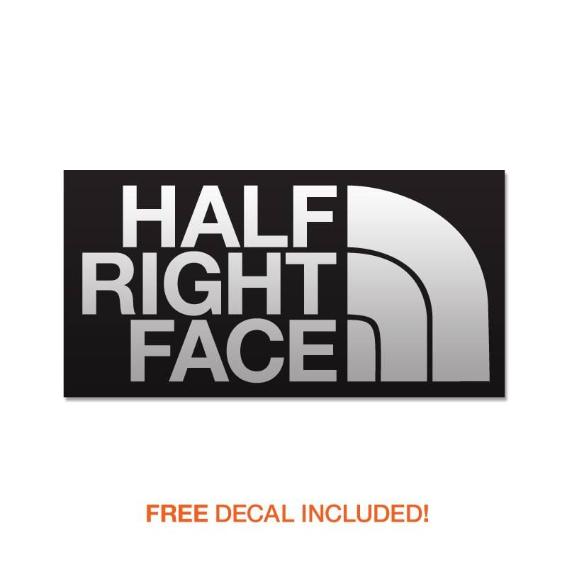 Parody military decals half right face window decals black and white vinyl decal http
