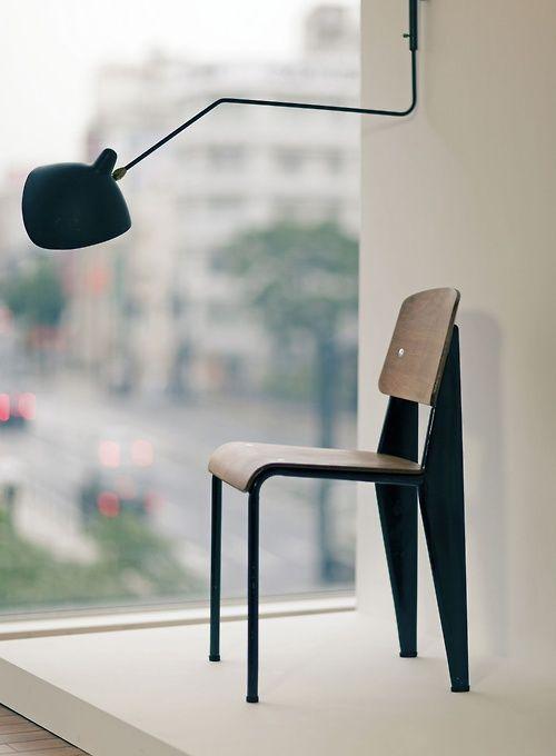 Jean Prouvé Standard Chair Vitra ° Serge Mouille Wall Lamp