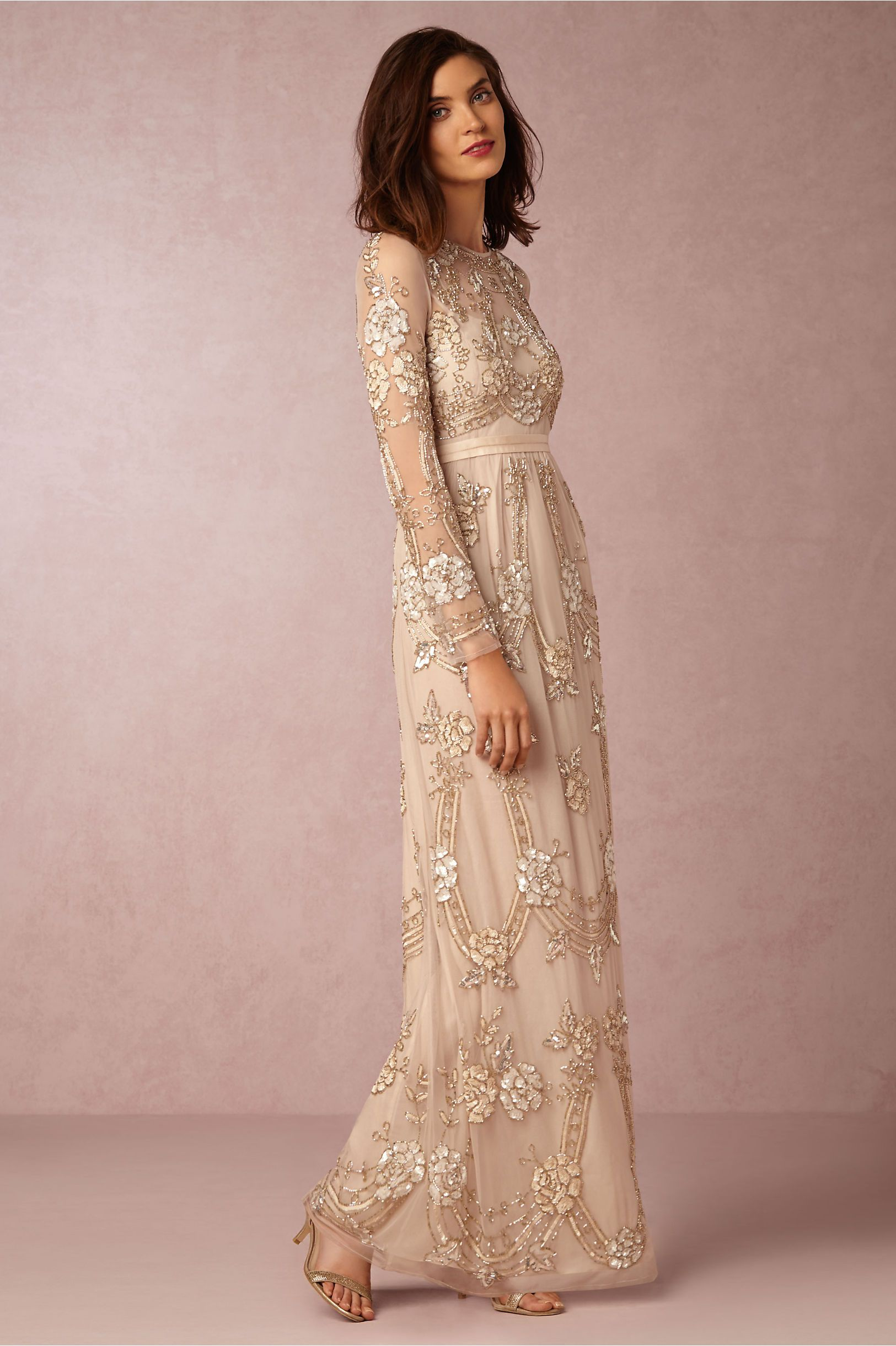 BHLDN Adona Dress in Bride Reception Dresses at BHLDN, embroidered ...